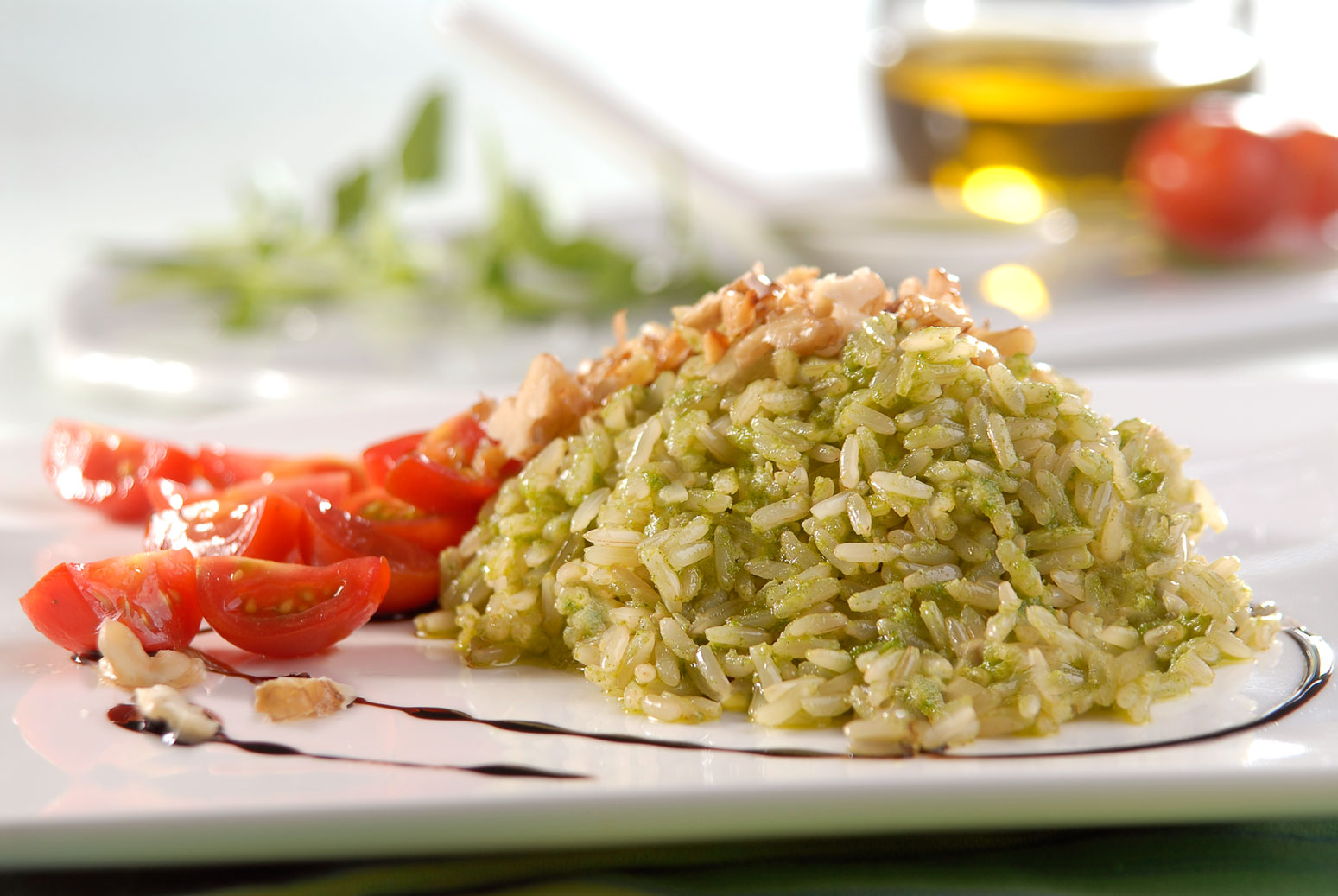 Arroz integral com pesto